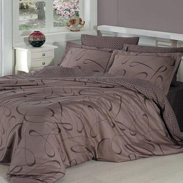 Комплект постельного белья евро Петля коричневое