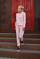 Брючный женский костюм со стоечкой -пудра, фото 2