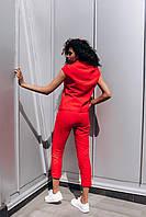 Стильный костюм с воротником стойкой - белый, красный, фото 3