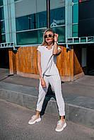 Стильный костюм с воротником стойкой - белый, красный, фото 5