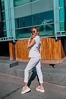 Стильный костюм с воротником стойкой - белый, красный, фото 8