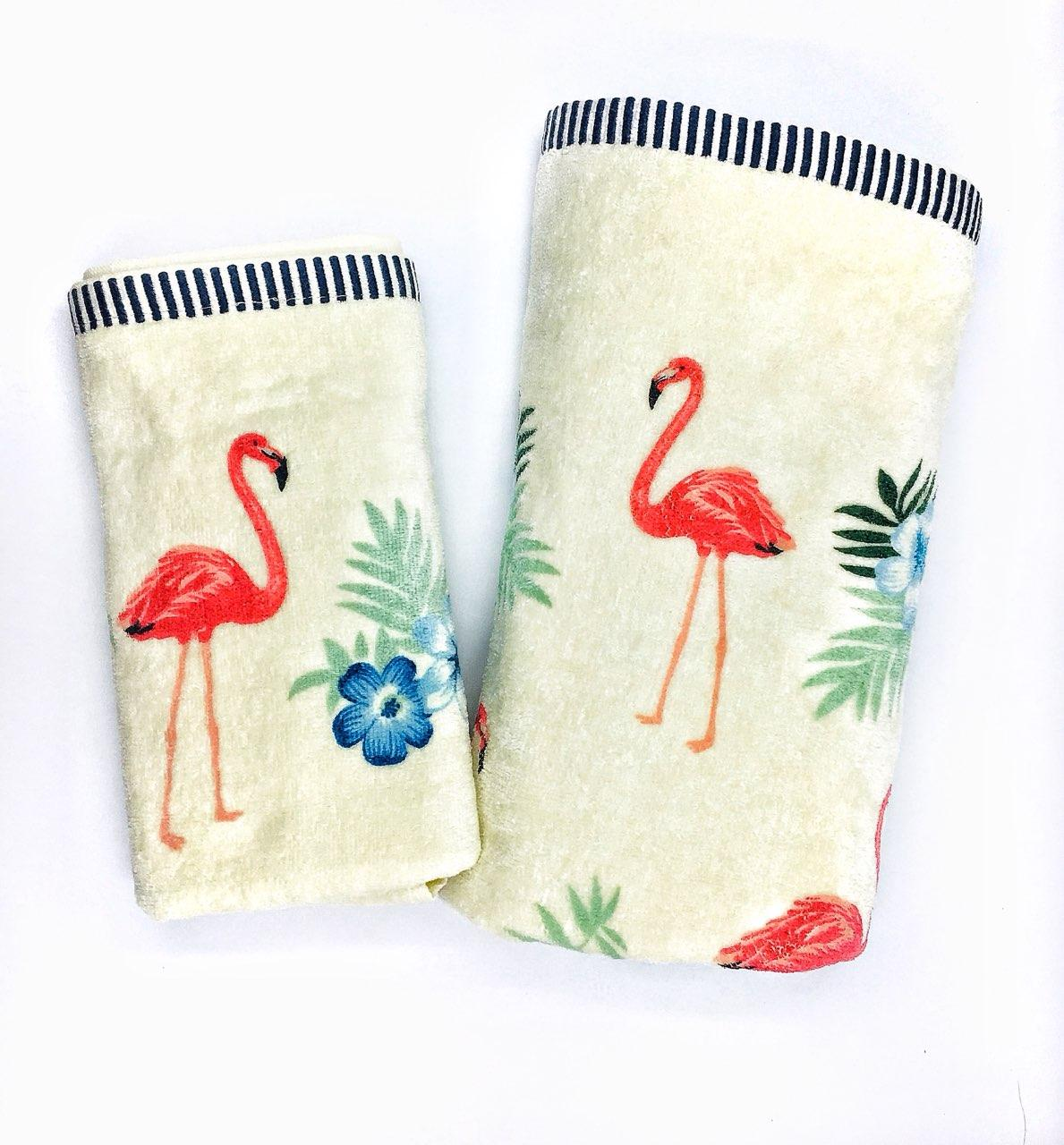 Набор махровых полотенец «Фламинго» лицевое и банное - 2шт