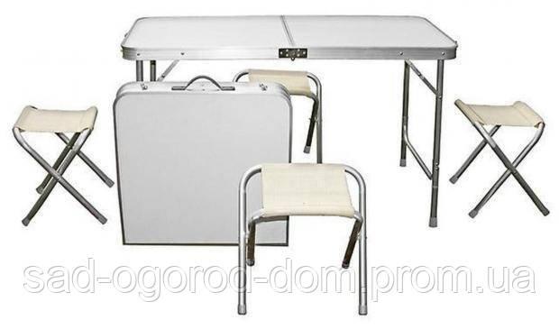 Складной стол + 4 стула в чемодане 1200х600