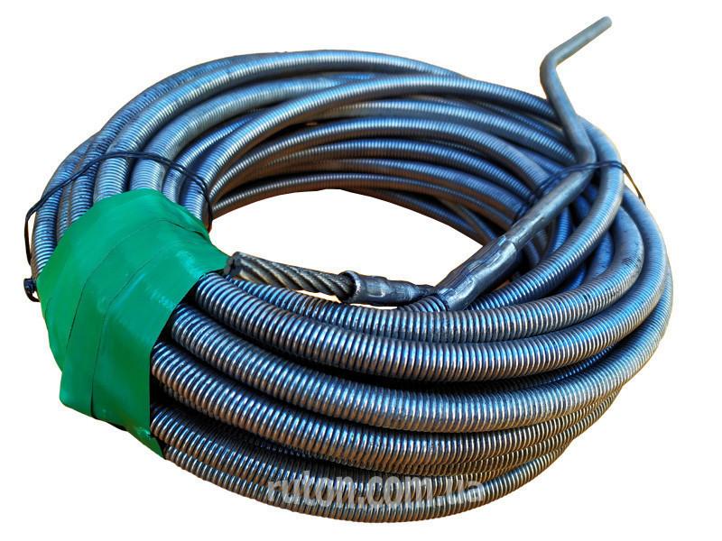 Сантехнический трос крот 16 мм 10 м для чистки канализационных труб, унитазов, стояков