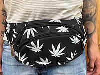 Поясная сумка черная Canabis, 2 отделения (Бананка), из мессенджер pvc, банан, трендовая сумка
