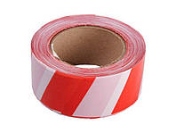 Сигнальна стрічка червоно-біла 75 мм х 50 м