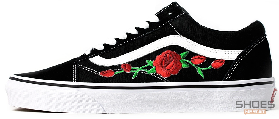 Женские кеды Vans Old Skool Roses Black, Ванс Олд Скул