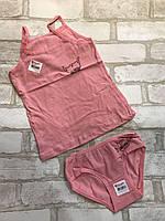 """Комплект нижнего белья на девочку 2-11 лет """"Две кошки"""", кораллового цвета"""