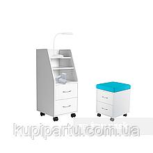 Комплект шафа для зберігання SS15 White + дитяча тумбочка SS15W Blue FunDesk