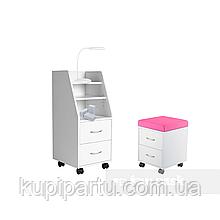 Комплект шафа для зберігання SS15 White + дитяча тумбочка SS15W Pink FunDesk