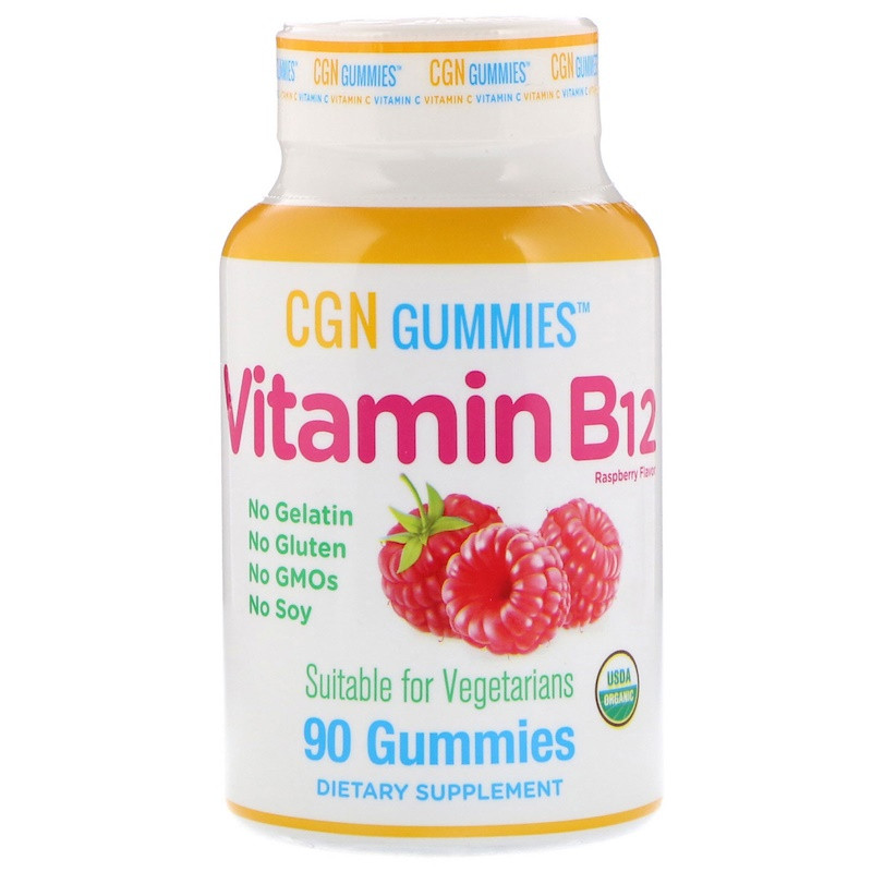 "Витамин В12 California GOLD Nutrition, Gummies ""Vitamin B12"" вкус малины, 1500 мкг (90 таблеток)"