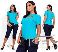 """Льняной комплект: блуза с вырезом """"капельки"""", по спинке с завязкой и пуговицами по всей длине, бриджи на резин"""