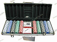 ПОКЕРНЫЙ НАБОР В КЕЙСЕ (2 КОЛОДЫ КАРТ +500 ФИШЕК) (59Х25Х9 СМ)