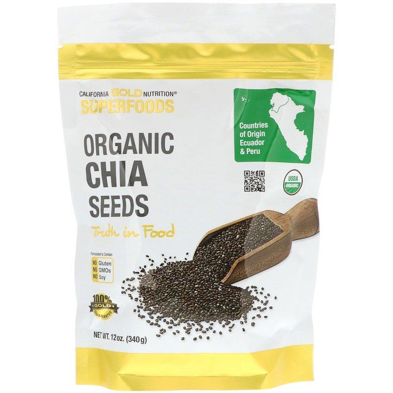 "Органічні насіння чіа California GOLD Nutrition, Superfoods ""Organic Chia Seeds"" (340 г)"