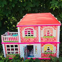 Кукольный домик. Домик для барби на 5 комнат. Двухэтажный кукольный дом с верандой 6980, фото 2