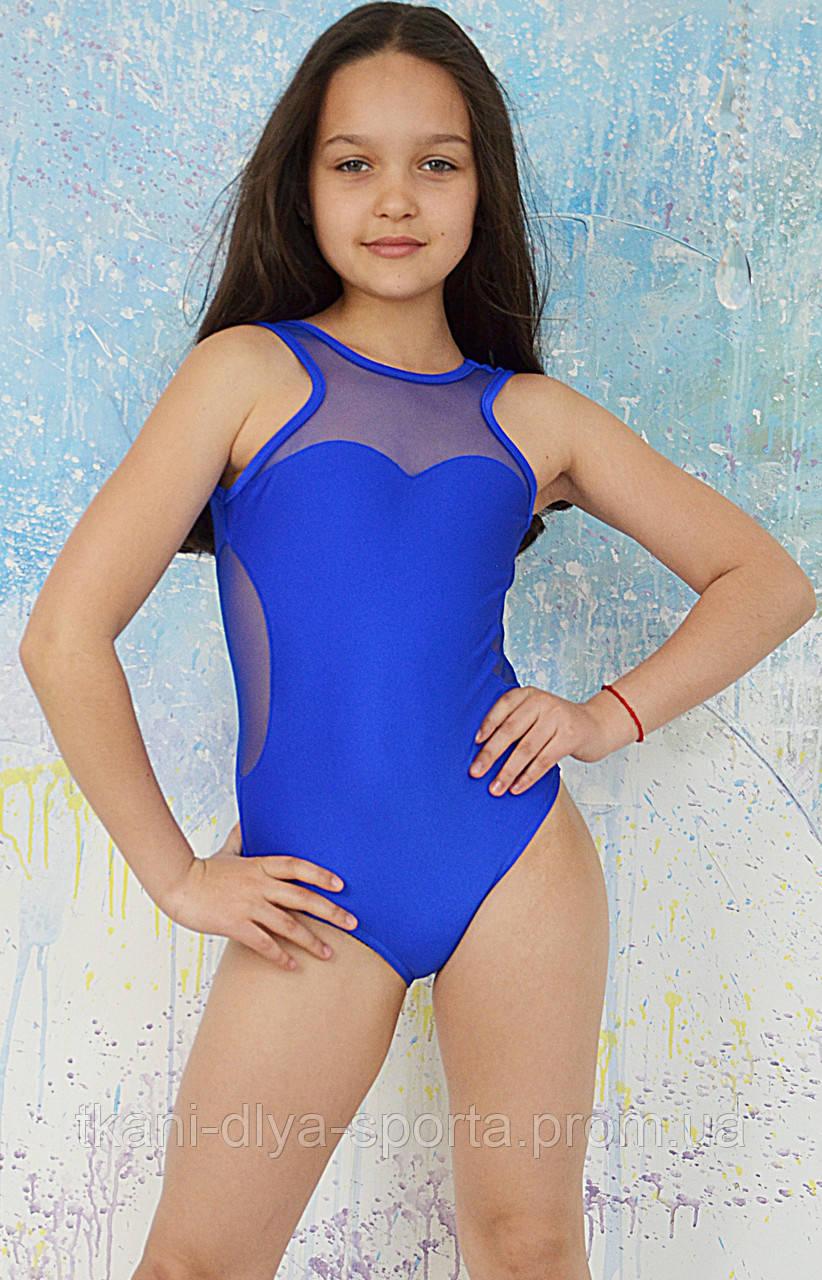 Купальник для танцев и гимнастики из бифлекса синий электрик
