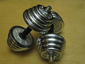 Гантели наборные хром+резина 2 шт по 25 кг