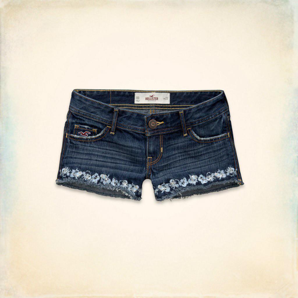 Джинсовые шорты Hollister с вышивкой