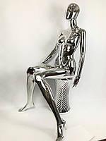 Манекен жіночий срібний сидячий, фото 1