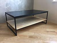 Журнальний стіл в стилі Лофт з Бука зрощеного та металу