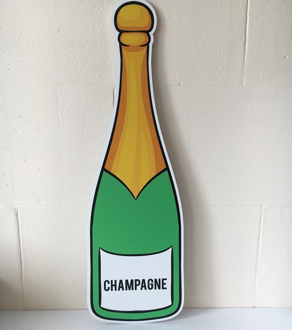 """Большая декорация из пластика """"Бутылка шампанского"""" для фотосессии зеленая"""