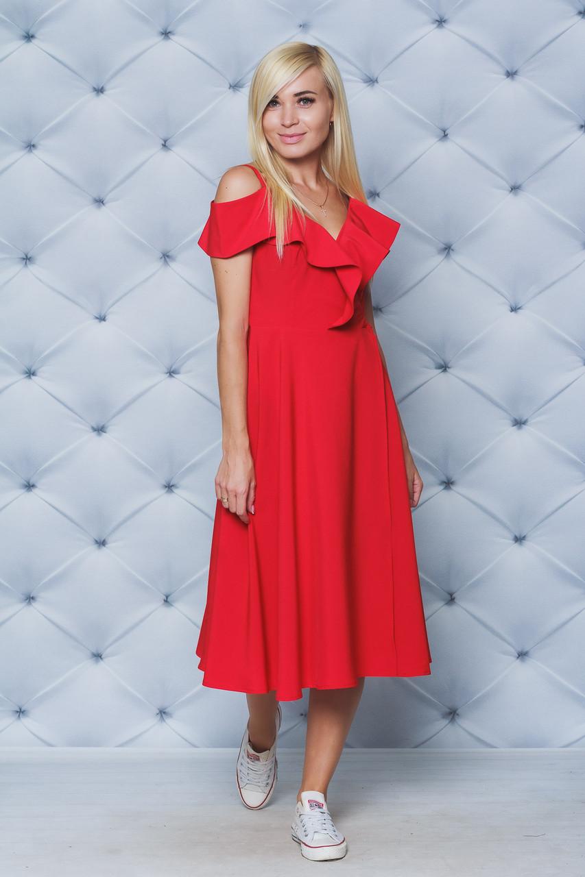 Платье женское на запах красное