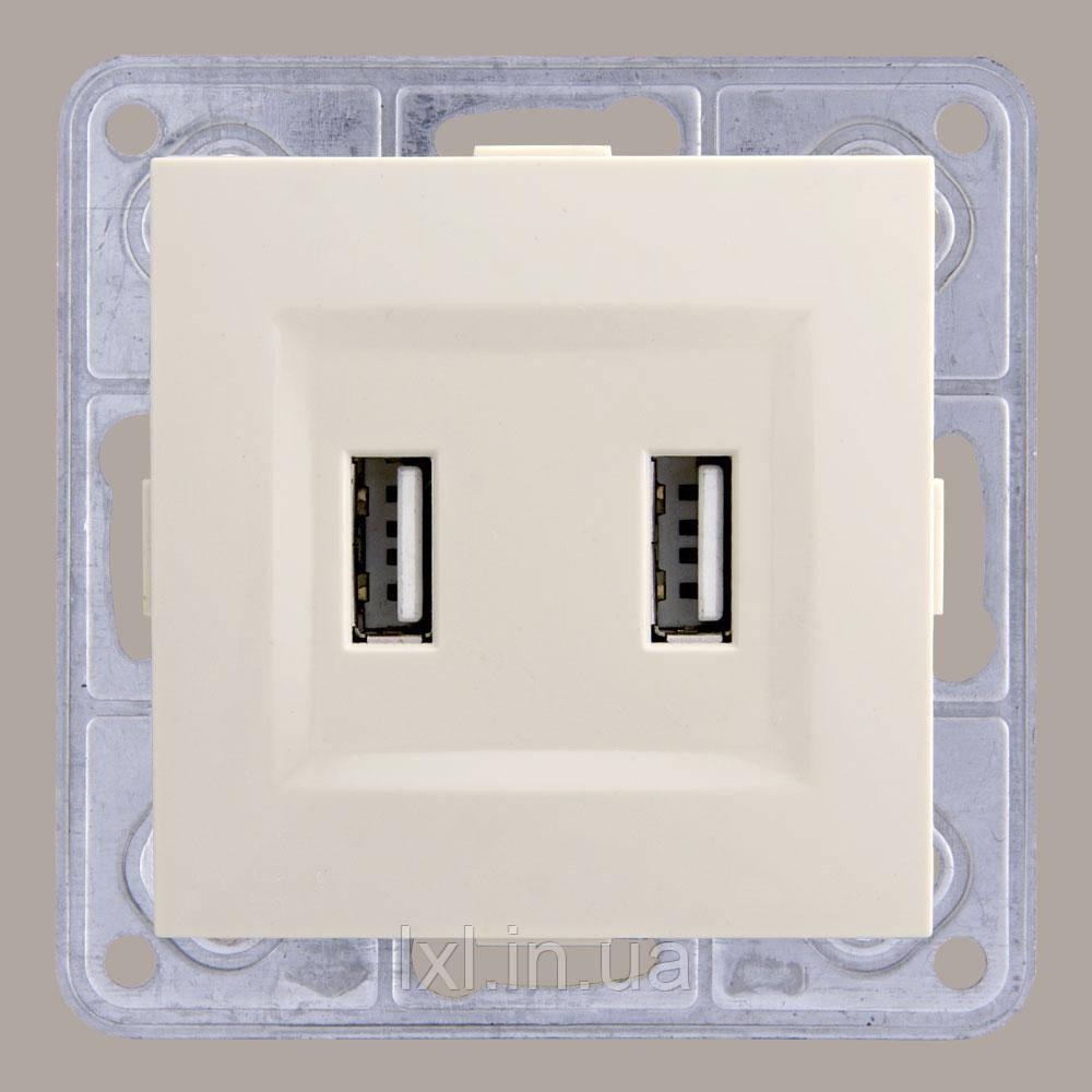 Розетка USB двойная крем TESLA