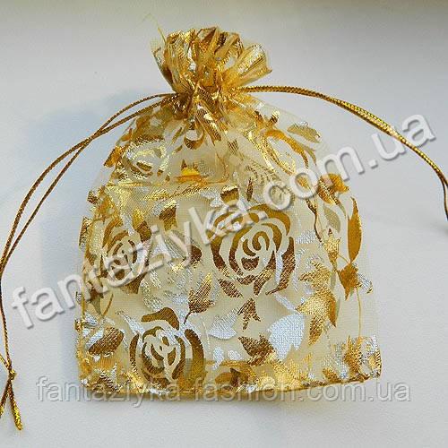 Мешочек из органзы с золотыми розами, 12х8см