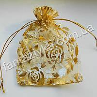 Мешочек из органзы с золотыми розами, 12х9см