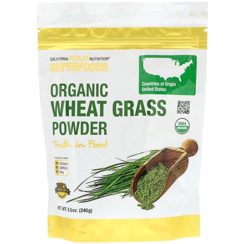 """Органический порошок пырея California GOLD Nutrition, Superfoods """"Organic Wheat Grass Powder"""" (240 г)"""