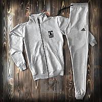 Спортивный костюм мужской Adidas grey | Олимпийка + штаны | Костюм Найк весенний осенний ЛЮКС качества, фото 1