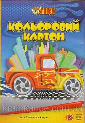 Картон А4 кольоровий 12 аркушів TIKI 50901, фото 2