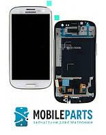 Дисплей для Samsung I9300i Galaxy S3 Neo Duos с сенсорным стеклом в рамке (Белый) Оригинал Китай