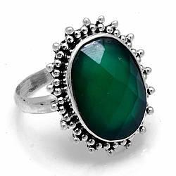 Серебряное кольцо с зеленым ониксом, 18*13 мм., 1929КЦО