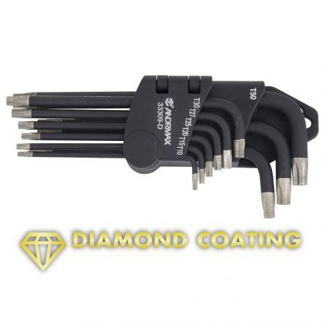 Набор ключей Torx Г-образных с алмазным напылением, 9 предметов ANDRMAX