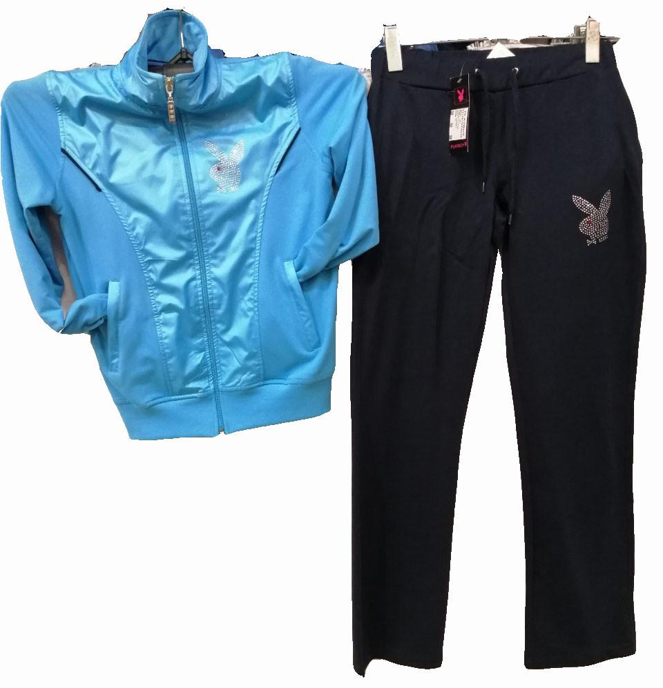 Спортивный костюм женский с логотипом Playboy голубой