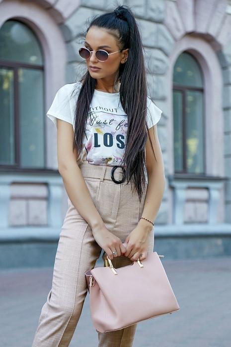 Молодежная женская футболка 3597 бело-персиковый (S-3XL)