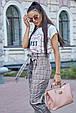 Молодежная женская футболка 3597 бело-персиковый (S-3XL), фото 4