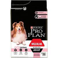 Сухой корм Про План для собак средних пород, с чувствительной кожей, лосось 14КГ