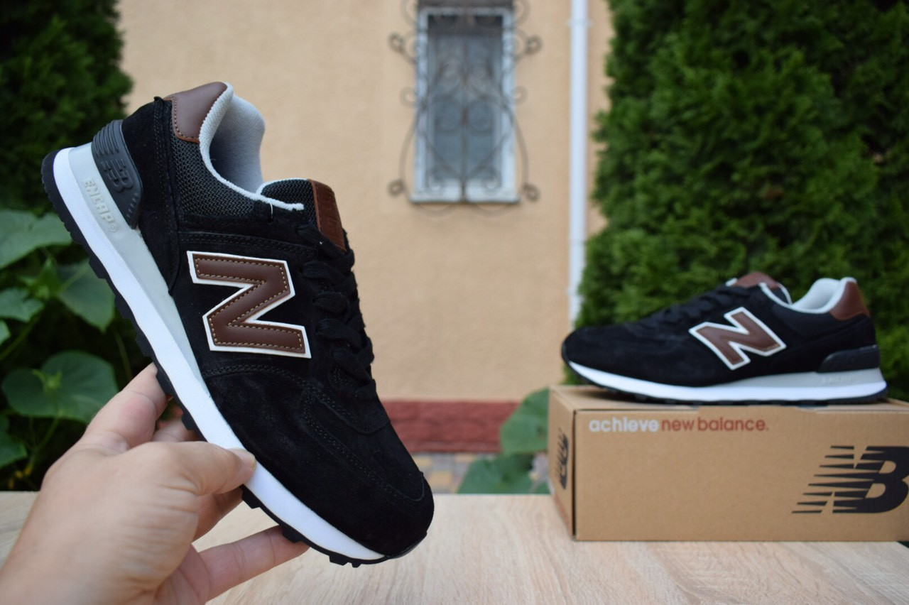 Мужские кроссовки New Balance 574, черные, замша