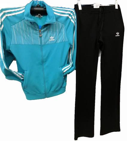 Спортивный костюм женский с лампасами Adidas голубой, фото 2