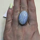 Сапфирин красивое кольцо овал с сапфирином в серебре. Кольцо с сапфирином голубым агатом 18,5 размер Индия, фото 3