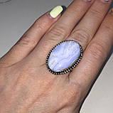 Сапфирин красивое кольцо овал с сапфирином в серебре. Кольцо с сапфирином голубым агатом 18,5 размер Индия, фото 4