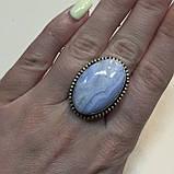 Сапфирин красивое кольцо овал с сапфирином в серебре. Кольцо с сапфирином голубым агатом 18,5 размер Индия, фото 2