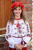 Українська сорочка вишиванка для дівчинки на рубашечной ткани, фото 1