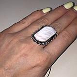 Сколецит кольцо с натуральным сколецитом в серебре размер 19 Индия, фото 3