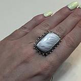 Сколецит кольцо с натуральным сколецитом в серебре размер 19 Индия, фото 2