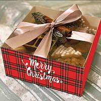 """Коробка для 4 капкейків, мафінів, кексів 160*160*80 з прозорою кришкою ПВХ """"Merry Christmas"""""""