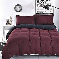 Комплект постельного белья  однотонный бордовый + черный,  поплин Lux