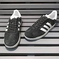 Мужские кроссовки Adidas Gazelle Dark Grey/White S74846, Адидас Газели, фото 3
